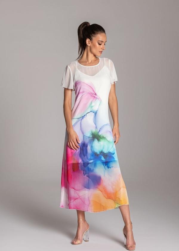 Sukienka Tarionus S.c. z krótkim rękawem z szyfonu maxi