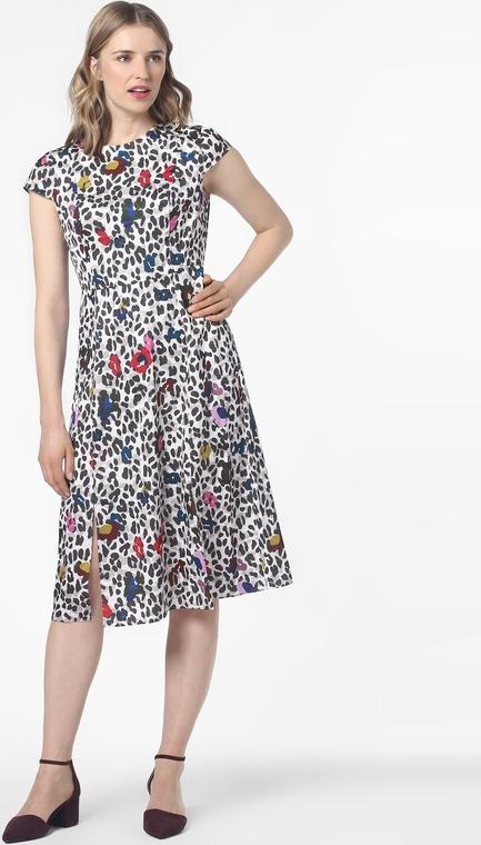 Sukienka Ted Baker rozkloszowana midi z okrągłym dekoltem