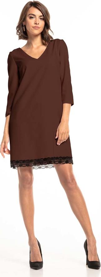Sukienka Tessita mini z dekoltem w kształcie litery v z długim rękawem