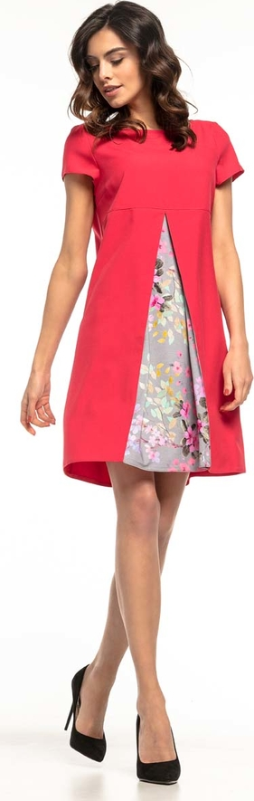Sukienka Tessita z okrągłym dekoltem trapezowa z krótkim rękawem