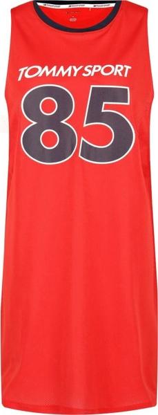 Sukienka Tommy Sport bez rękawów z okrągłym dekoltem midi