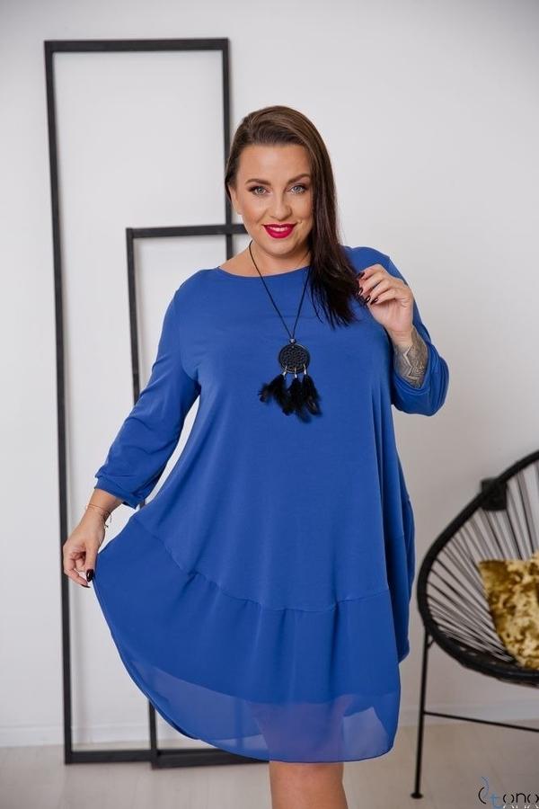 Sukienka tono.sklep.pl z długim rękawem z okrągłym dekoltem bombka