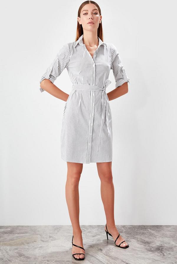 Sukienka Trendyol koszulowa z długim rękawem