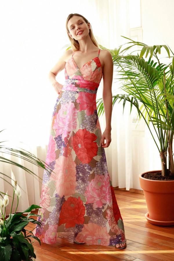 Sukienka Trendyol na ramiączkach z dekoltem w kształcie litery v maxi