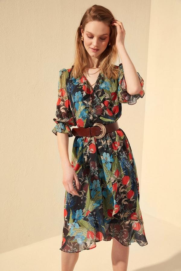 Sukienka Trendyol z długim rękawem w stylu boho mini