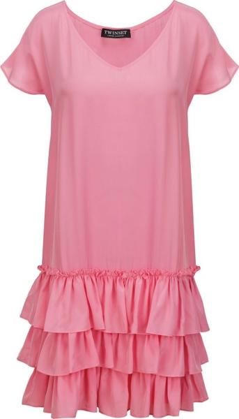 Sukienka Twinset w stylu casual z jedwabiu z krótkim rękawem