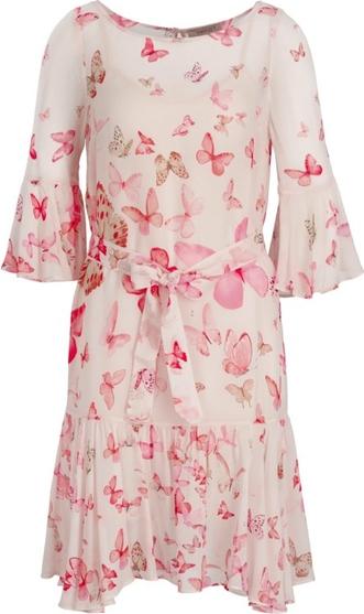 Sukienka Twinset z długim rękawem z okrągłym dekoltem midi