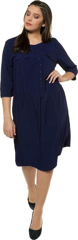 Sukienka Ulla Popken z okrągłym dekoltem midi z długim rękawem