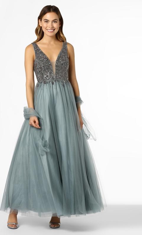 Sukienka Unique bez rękawów rozkloszowana z dekoltem w kształcie litery v