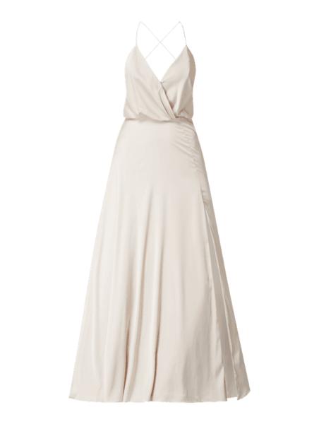 Sukienka Unique maxi z satyny z dekoltem w kształcie litery v
