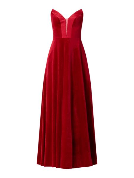 Sukienka Unique z dekoltem w kształcie litery v gorsetowa z satyny