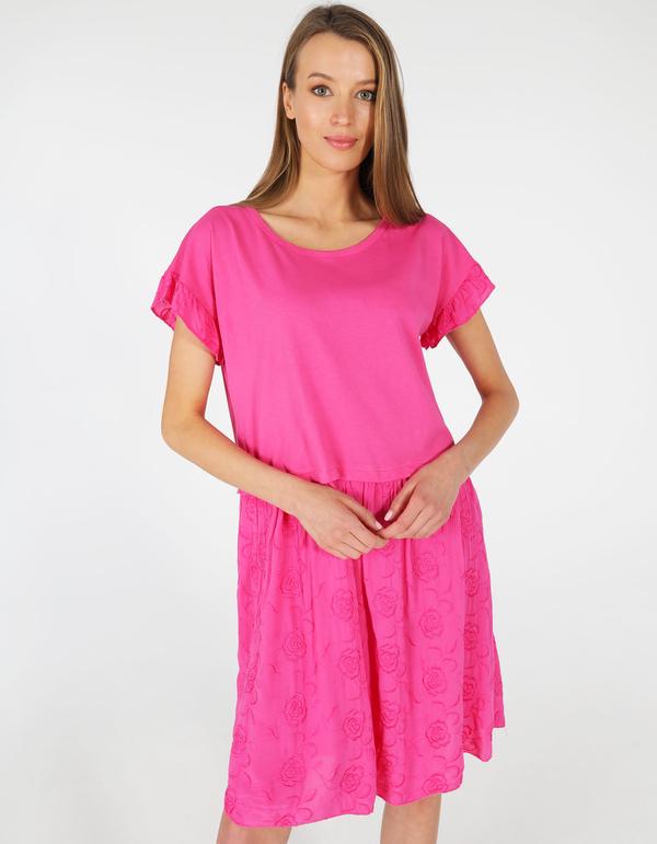 Sukienka Unisono z krótkim rękawem z okrągłym dekoltem mini