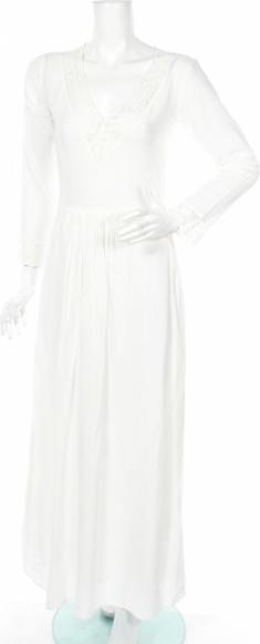 Sukienka United Colors Of Benetton rozkloszowana z dekoltem w kształcie litery v z długim rękawem