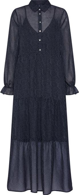 Sukienka Vero Moda z długim rękawem midi z kołnierzykiem