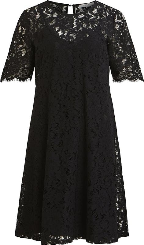Sukienka Vila z okrągłym dekoltem z bawełny
