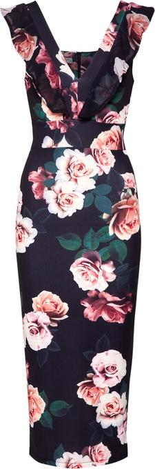 Sukienka WAL G. midi bez rękawów z dekoltem w kształcie litery v