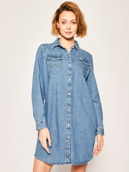 Sukienka Wrangler koszulowa z jeansu mini