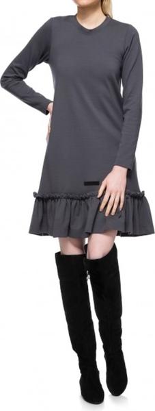 Sukienka Yuliya Babich z okrągłym dekoltem z długim rękawem w stylu casual