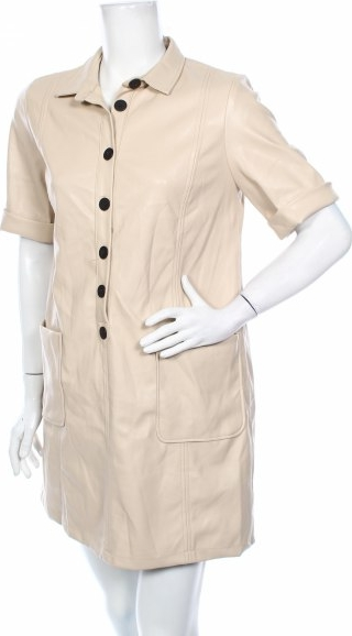 Sukienka Zara Trafaluc koszulowa ze skóry z kołnierzykiem
