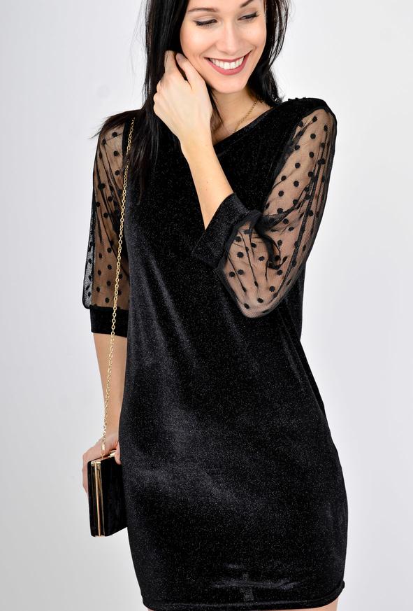 321ed187ea Czarna sukienka Zoio mini z długim rękawem z okrągłym dekoltem
