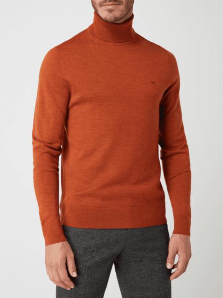 Sweter Calvin Klein w stylu casual z wełny z golfem