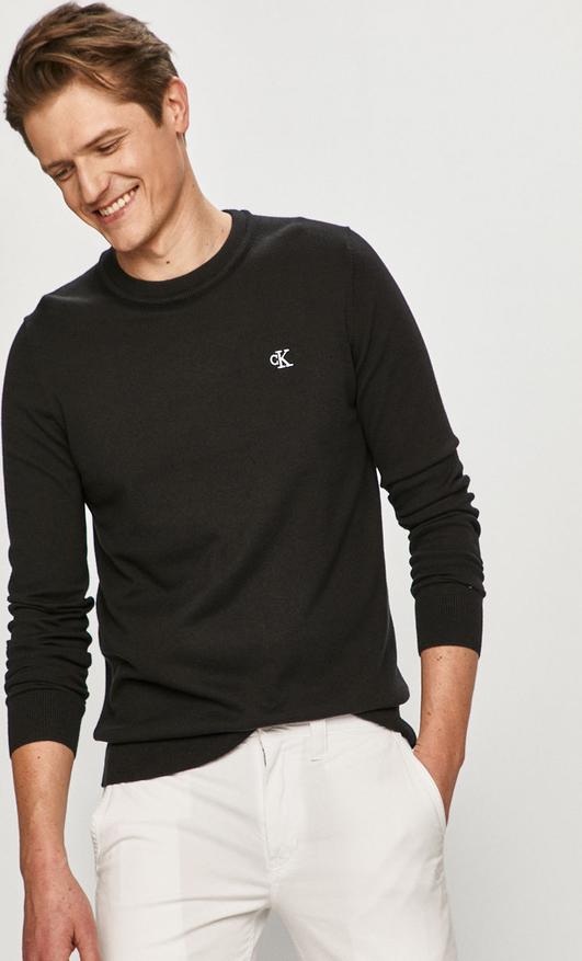 Sweter Calvin Klein z okrągłym dekoltem z dzianiny w stylu casual