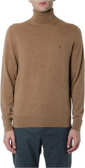 Sweter Calvin Klein z wełny z golfem