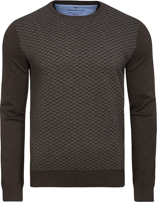 Sweter Fynch Hatton z bawełny z okrągłym dekoltem w stylu casual