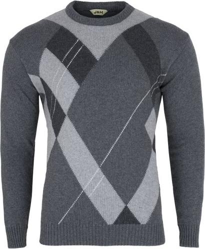 Sweter J&h z wełny w geometryczne wzory