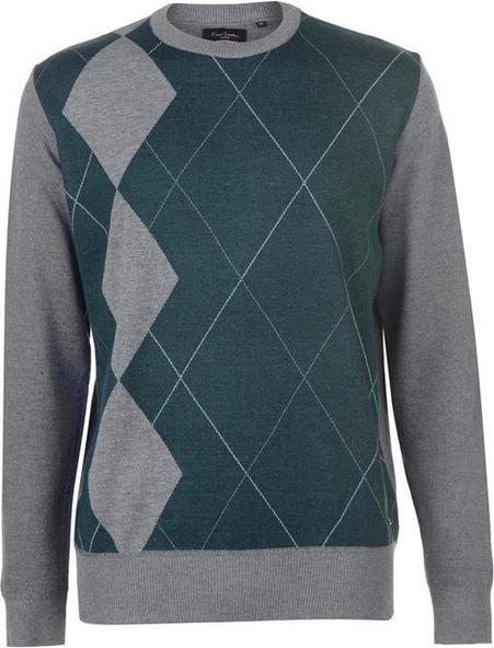 Sweter Pierre Cardin w geometryczne wzory z dzianiny