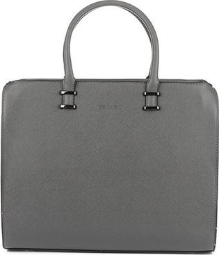 8ee6e91da7486 Szara duża damska torba kuferek z eko-skóry saffiano bellugio r20 odcienie  szarości i srebra