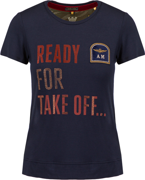 T-shirt Aeronautica Militare z krótkim rękawem z okrągłym dekoltem