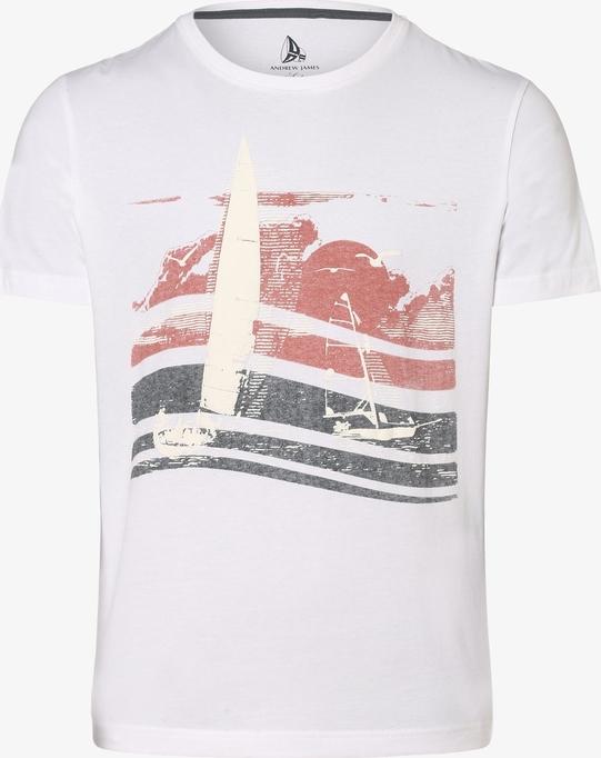 T-shirt Andrew James Sailing z bawełny z krótkim rękawem