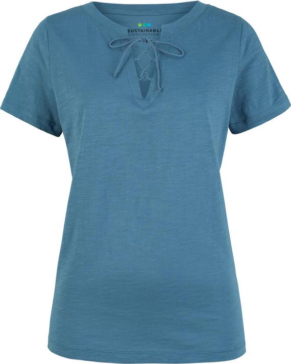 T-shirt bonprix bpc bonprix collection ze sznurowanym dekoltem z bawełny z krótkim rękawem