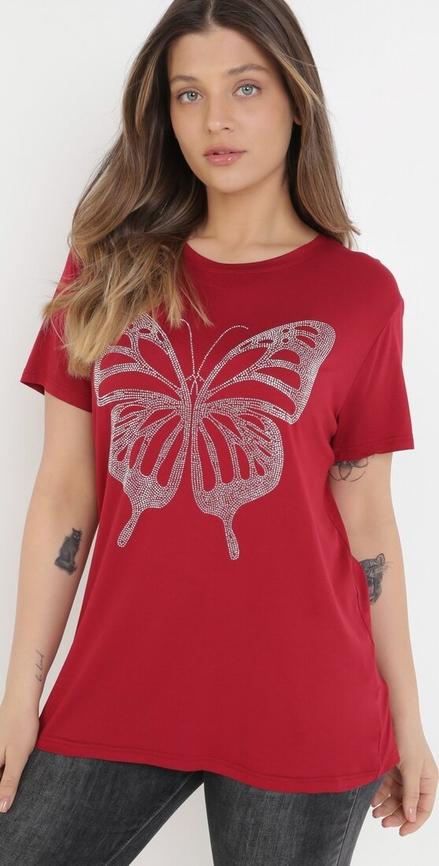 T-shirt born2be w młodzieżowym stylu z okrągłym dekoltem