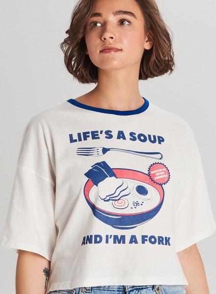 T-shirt Cropp z krótkim rękawem z nadrukiem w młodzieżowym stylu