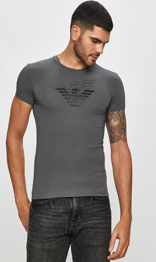 T-shirt Emporio Armani z nadrukiem z krótkim rękawem w młodzieżowym stylu