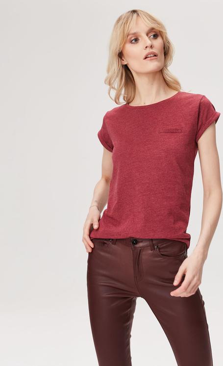 Stała usługa Czerwony t-shirt FEMESTAGE Eva Minge z krÓtkim rękawem z bawełny Odzież Damskie Topy i koszulki damskie OG TPKOOG-1