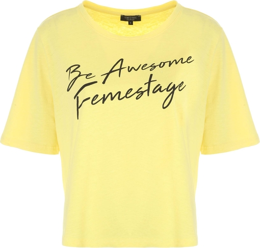 T-shirt FEMESTAGE Eva Minge z krótkim rękawem z bawełny w młodzieżowym stylu
