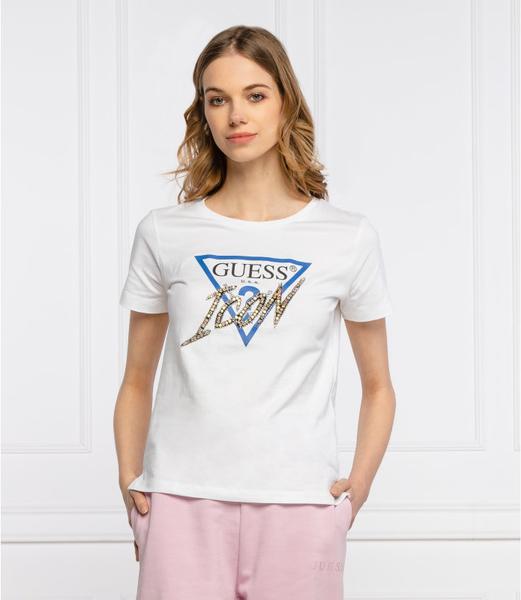 T-shirt Guess z krótkim rękawem w młodzieżowym stylu z okrągłym dekoltem