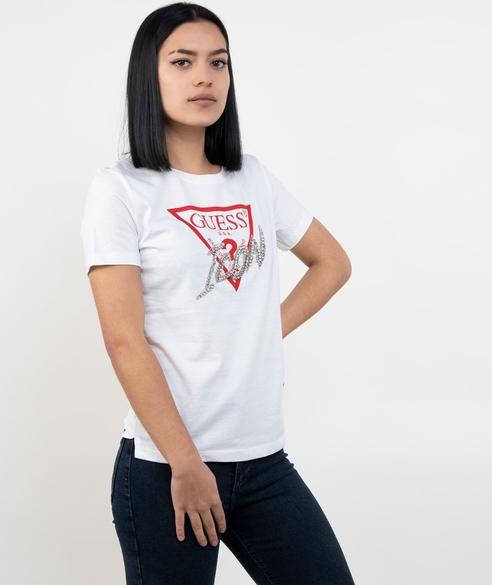 T-shirt Guess z krótkim rękawem z okrągłym dekoltem z bawełny