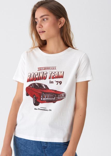 T-shirt House z nadrukiem z okrągłym dekoltem z krótkim rękawem