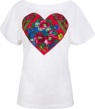 T-shirt jk collection z bawełny z krótkim rękawem w stylu etno