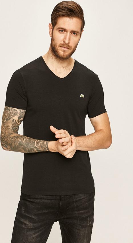 T-shirt Lacoste z dzianiny z krótkim rękawem