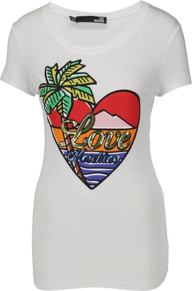ZMNIEJSZONE O 50% T-shirt Love Moschino z okrągłym dekoltem Odzież Damskie Topy i koszulki damskie FB MJVZFB-1