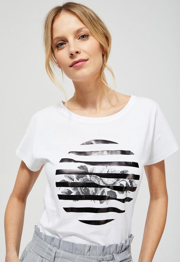 T-shirt Moodo w młodzieżowym stylu z okrągłym dekoltem z krótkim rękawem