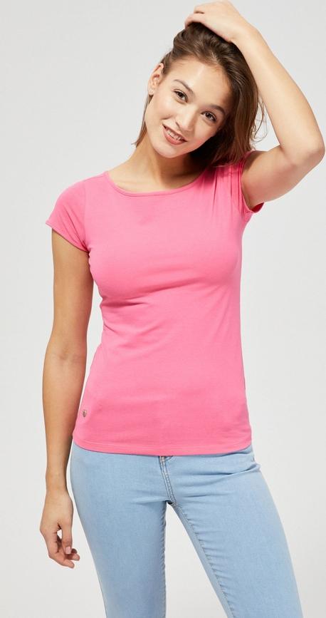 T-shirt Moodo w stylu casual z okrągłym dekoltem z krótkim rękawem