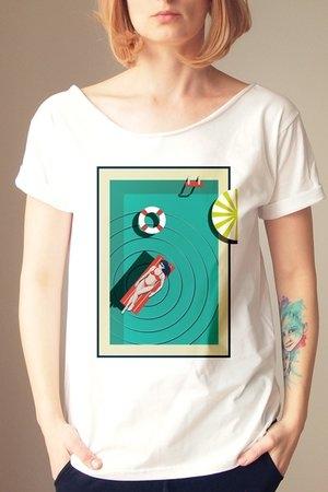 T-shirt ONE MUG A DAY z bawełny z krótkim rękawem