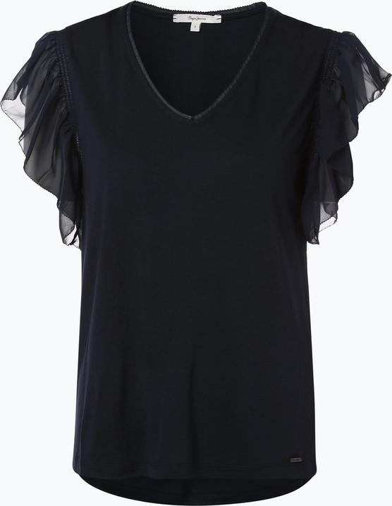 Granatowy t-shirt Pepe Jeans z szyfonu Odzież Damskie Topy i koszulki damskie DL KPOCDL-6 ekonomiczny