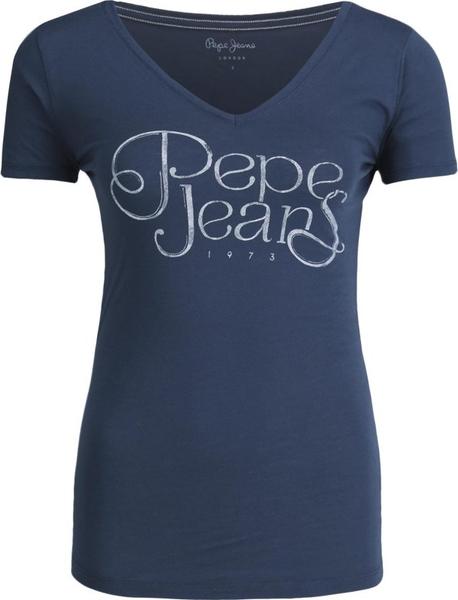 T-shirt Pepe Jeans z krótkim rękawem w młodzieżowym stylu z dekoltem w kształcie litery v